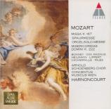 MOZART - Harnoncourt - Missa Trinitatis en do majeur, pour chœur, orgue