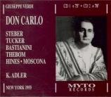 VERDI - Adler - Don Carlo, opéra (version italienne) Live, Met 05 - 06 - 1955