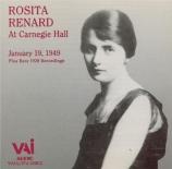 Rosita Renard at Carnegie Hall  January 19, 1949