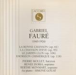FAURE - Mollet - La bonne chanson (Verlaine), cycle de mélodies pour voi