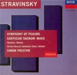 STRAVINSKY - Preston - Symphonie de psaumes, pour chœur et orchestre