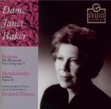 BRAHMS - Baker - Rhapsodie (Goethe), mélodie pour alto et chœur masculin