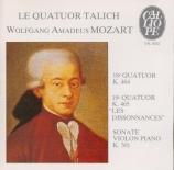 MOZART - Talich Quartet - Quatuor à cordes n°18 en la majeur K.464