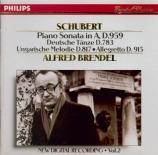 SCHUBERT - Brendel - Sonate pour piano en la majeur D.959
