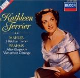 BRAHMS - Ferrier - Rhapsodie (Goethe), mélodie pour alto et choeur mascul