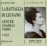 VERDI - Gui - La battaglia di Legnano, opéra en quatre actes Live Firenze 10 - 05 - 1959