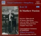 BACH - Mengelberg - Passion selon St Matthieu(Matthäus-Passion), pour s
