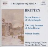 BRITTEN - Langridge - The holy sonnets of John Donne, pour voix et piano