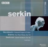 BRAHMS - Serkin - Vier Klavierstücke, quatre pièces pour piano op.119