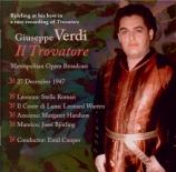 VERDI - Cooper - Il trovatore, opéra en quatre actes (version originale live MET 27 - 12 - 1947