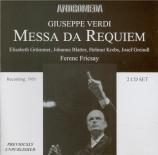 VERDI - Fricsay - Messa da requiem, pour quatre voix solo, chœur, et orc