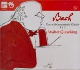 BACH - Gieseking - Le clavier bien tempéré, Livres 1 et 2 BWV 846-893
