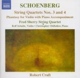 SCHOENBERG - Fred Sherry Str - Quatuor à cordes n°3 op.30