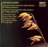 MENDELSSOHN-BAR - Gulli - Concerto pour violon et orchestre en ré