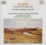 BRAHMS - Balogh - Trio pour piano, violoncelle, clarinette ou alto en la