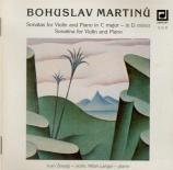 MARTINU - Zenaty - Sonate pour violon et piano en do majeur H.120