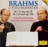 BRAHMS - Kremer - Sonate pour violon et piano n°1 en sol majeur op.78 SHM-CD import Japon