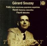 FALLA - Souzay - Sept chansons populaires espagnoles